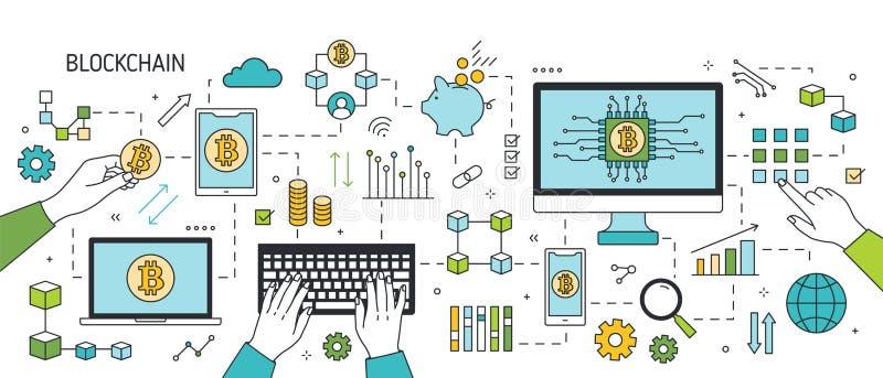 Idérikt horisontalbaner med händer, bärbara datorn, smartphonen och andra elektroniska apparater, bitcoinsymboler Blockchain royaltyfri illustrationer