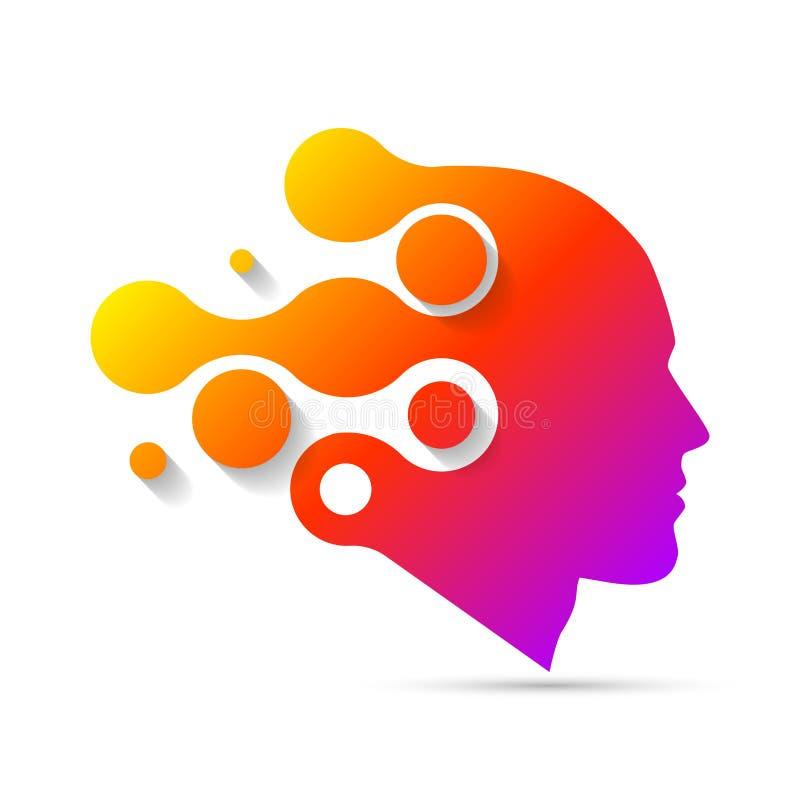 Idérikt huvud Mänsklig hjärna Abstrakt begrepp vektor symbol royaltyfri illustrationer