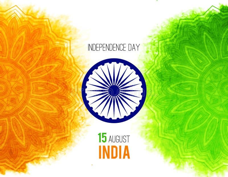 Idérikt indiskt självständighetsdagenbegrepp med ashokahjulet och modell i nationsflaggatricolors royaltyfri illustrationer