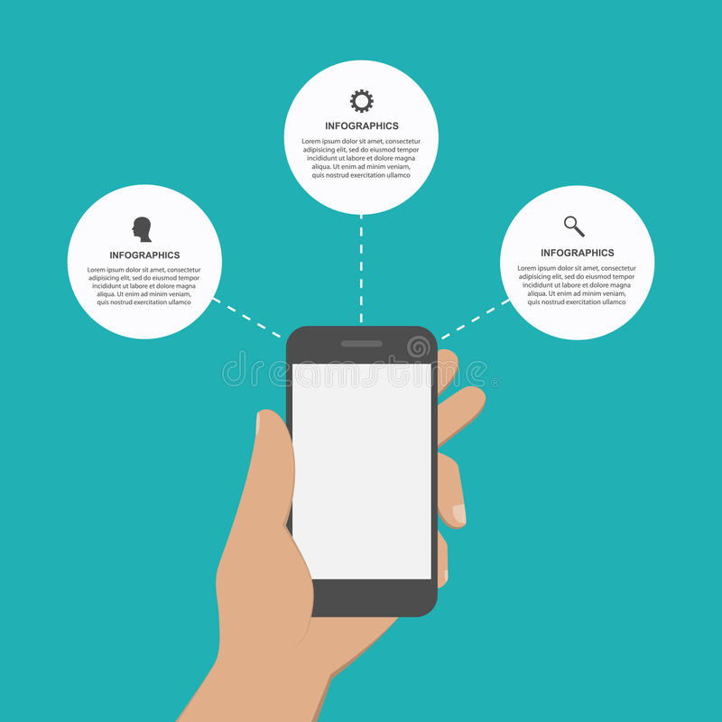 Idérikt infographic för modern design med mobiltelefonen vektor illustrationer