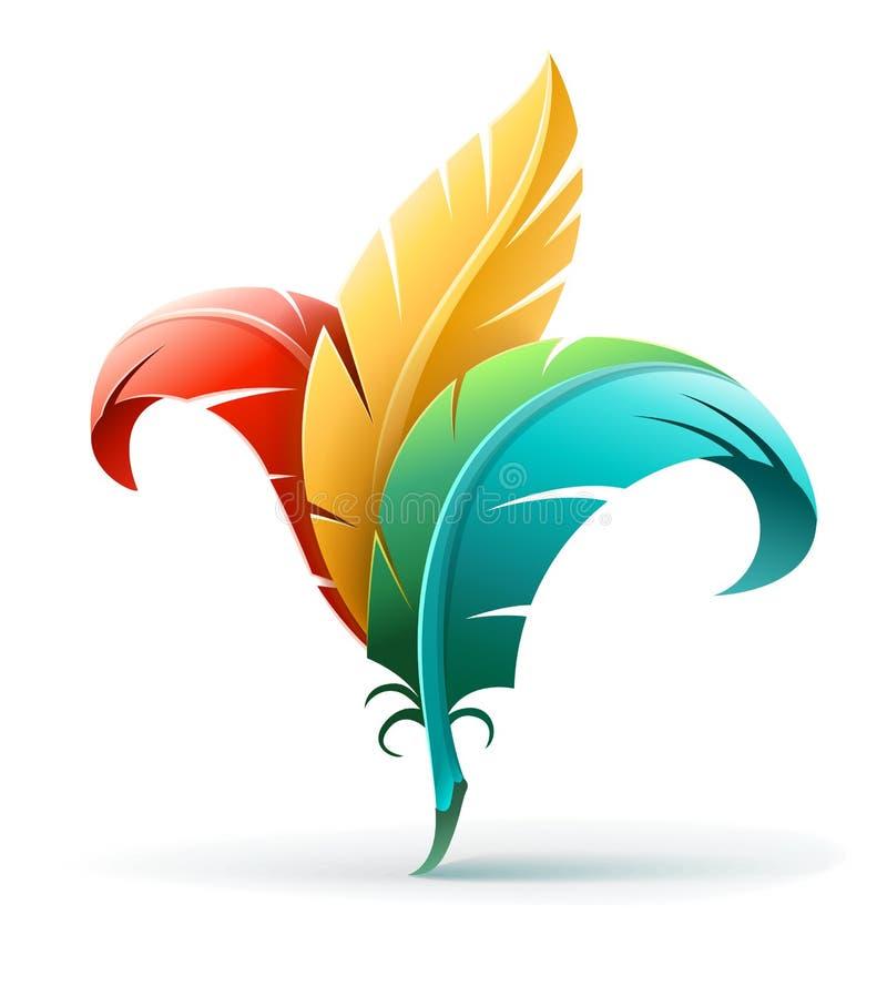 Idérikt konstbegrepp med färgfjädrar royaltyfri illustrationer