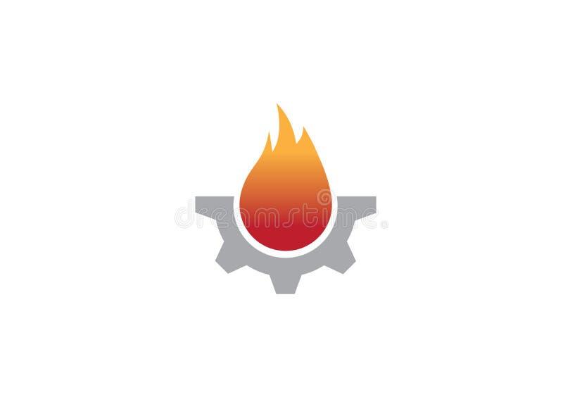 Idérikt kugghjulbrandsymbol för logodesignillustration stock illustrationer
