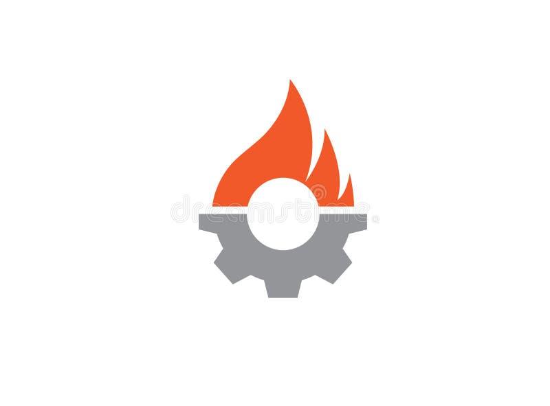 Idérikt kugghjulbrandsymbol för logodesignillustration vektor illustrationer