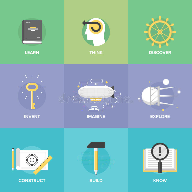 Idérikt lära och plana symboler för fantasi stock illustrationer