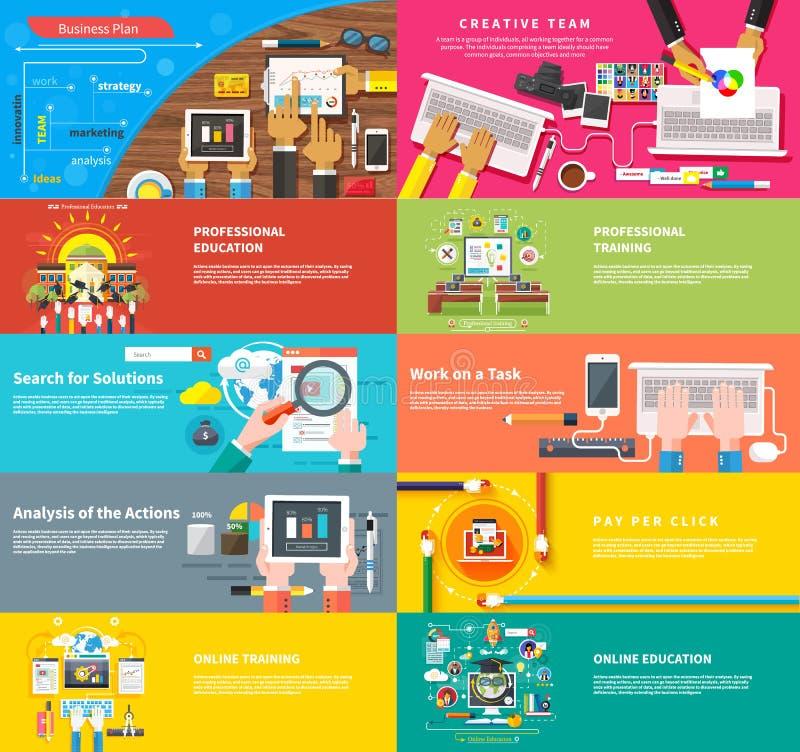 idérikt lag Ungt designlag som arbetar på skrivbordet vektor illustrationer
