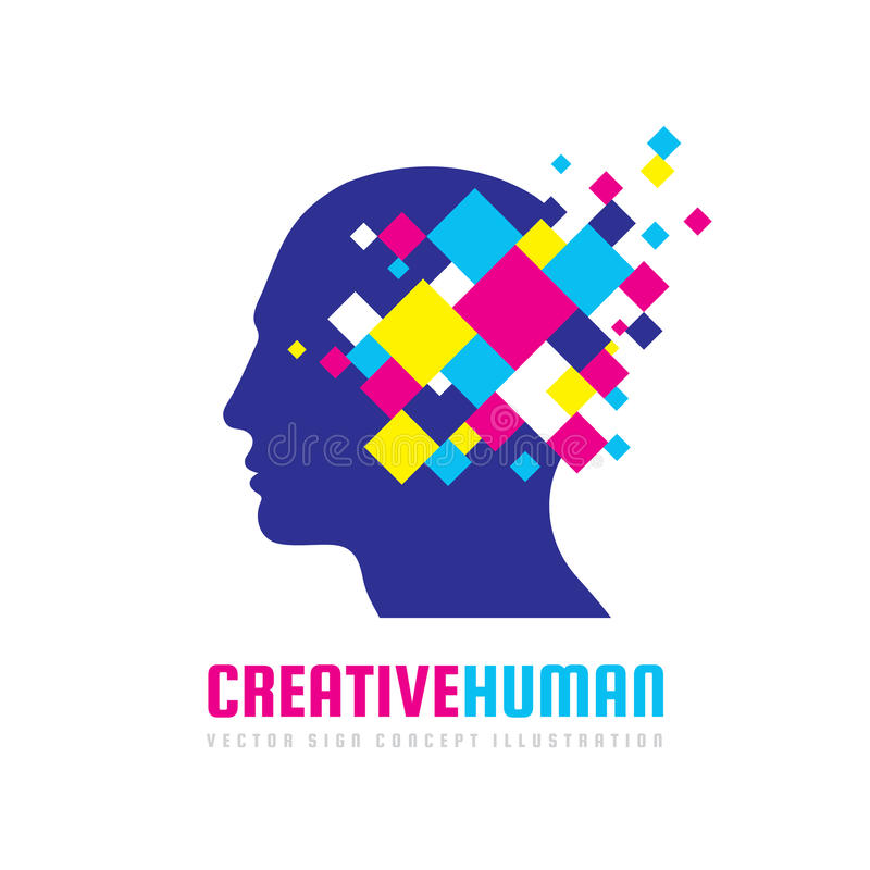 Idérikt mänskligt huvud - illustration för begrepp för vektorlogomall Geometriska beståndsdelar för abstrakt design Modern digita stock illustrationer