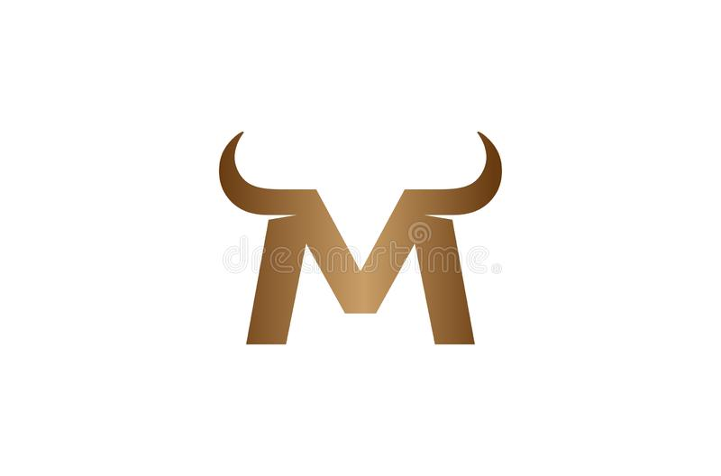 Idérikt M Letter Horns Bull Logo Design Vector Symbol Illustration arkivbild