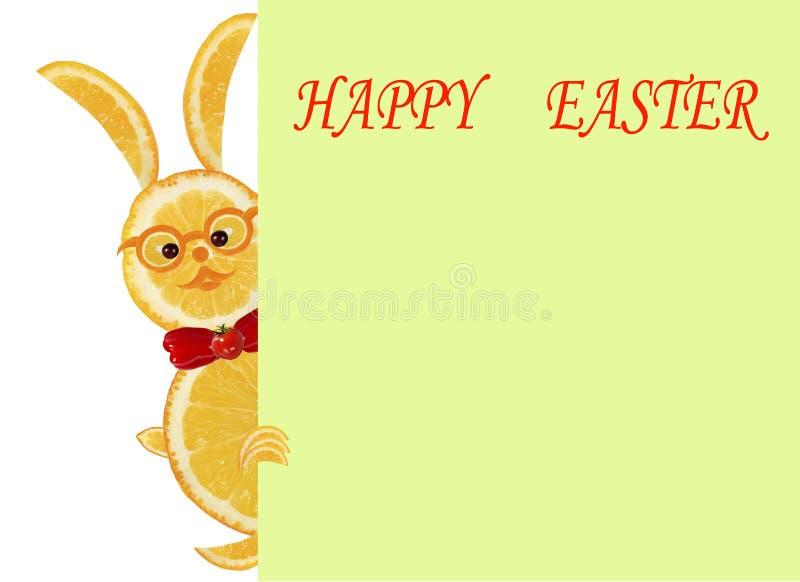 Idérikt matbegrepp Liten rolig gul kanin med text Happ vektor illustrationer