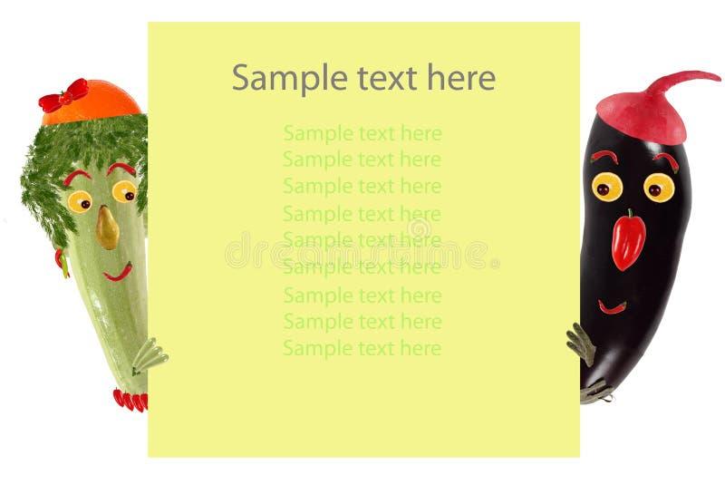 Idérikt matbegrepp Rolig liten zucchini- och aubergineblick vektor illustrationer