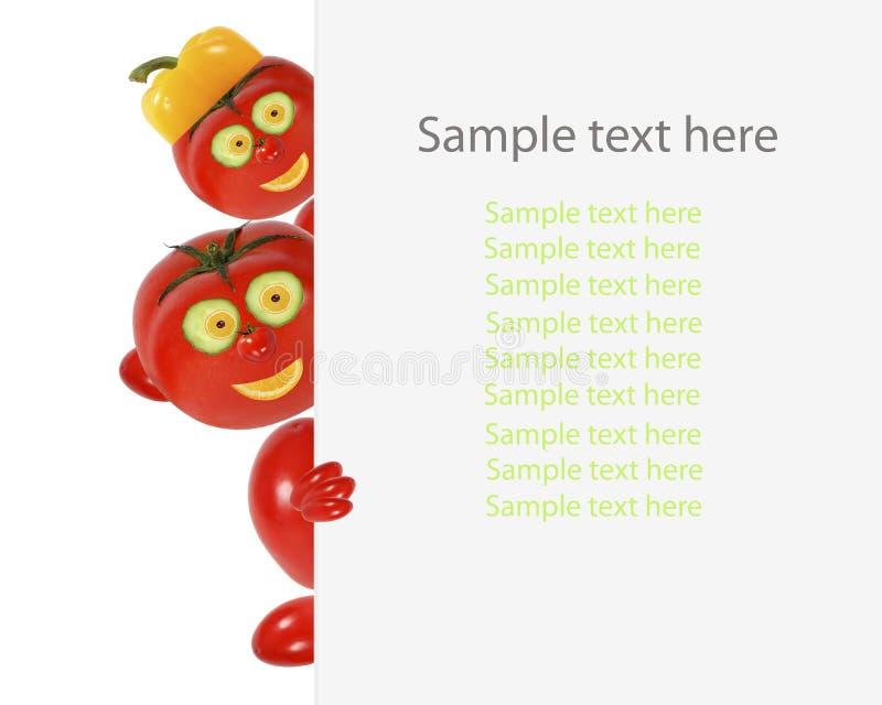 Idérikt matbegrepp Roliga små tomater blick och leende med stock illustrationer