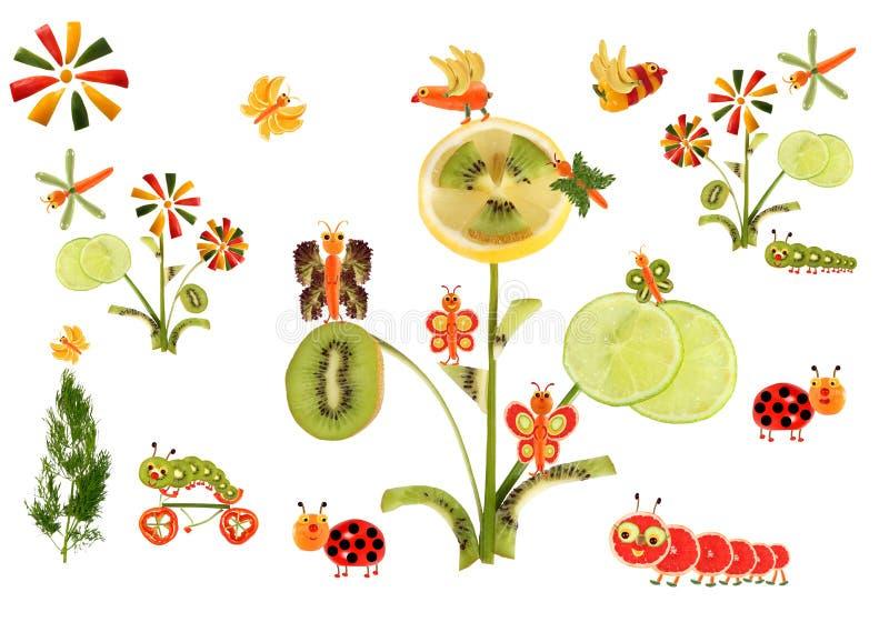 Idérikt matbegrepp Sagolikt land som göras av frukter och veg royaltyfri illustrationer