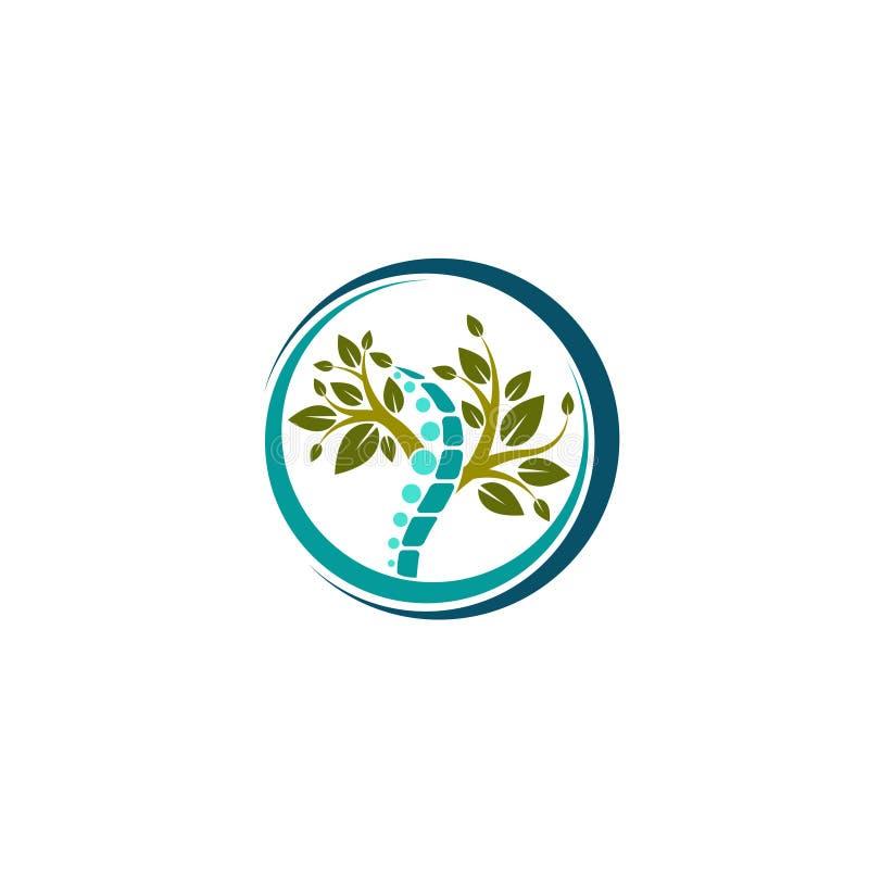 Idérikt medicinskt Chiropracticbegrepp Logo Design Template Vektorlogomall Mänsklig rygg isolerad konturillustration CH royaltyfri illustrationer