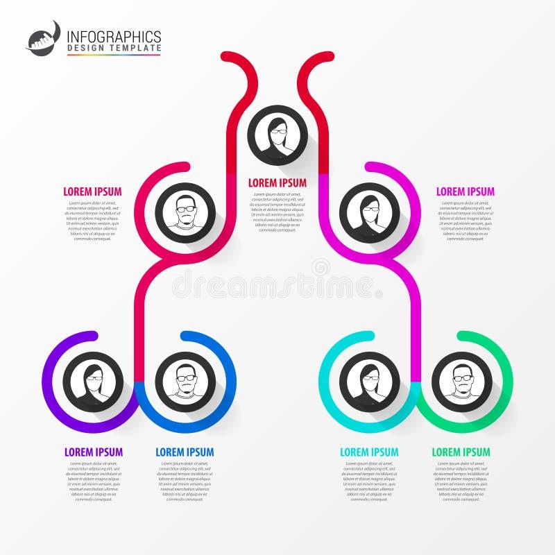 Idérikt organisationsdiagram Infographic designmall vektor royaltyfri illustrationer