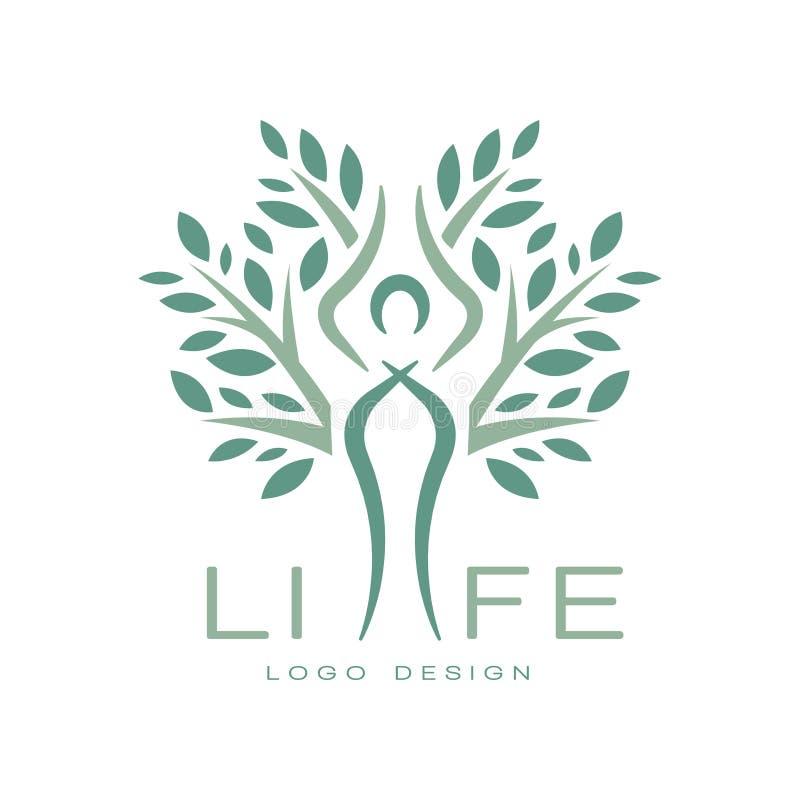 Idérikt plant vektoremblem för yogastudio eller meditationmitt Abstrakt livlogodesign Alternativ medicin och stock illustrationer
