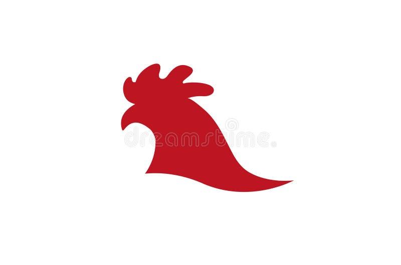 Idérikt rött tupphuvud Logo Design Symbol Vector Illustration stock illustrationer