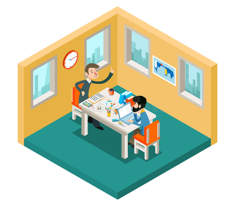 Idérikt samarbete Affärsmanlag som i regeringsställning arbetar det isometriska begreppet 3d stock illustrationer