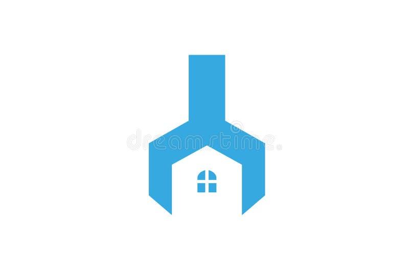 Idérikt skiftnyckelhus Logo Design Vector Symbol Illustration royaltyfri fotografi