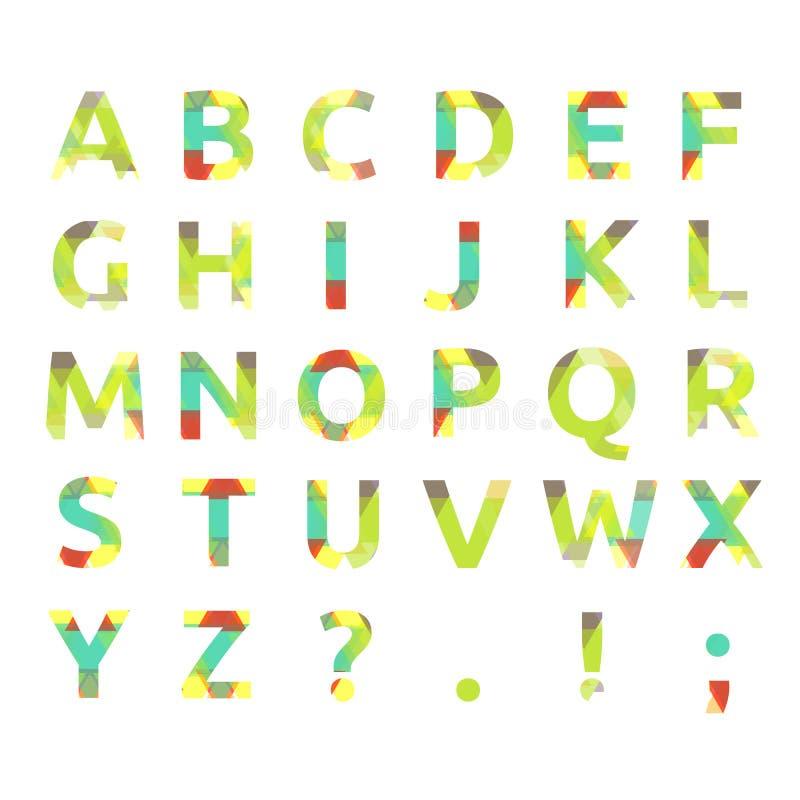 Idérikt spektral- alfabet av geometriskt papper vektor illustrationer