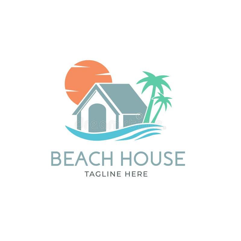 Idérikt strandhus Logo Design Vector Art Logo royaltyfri illustrationer