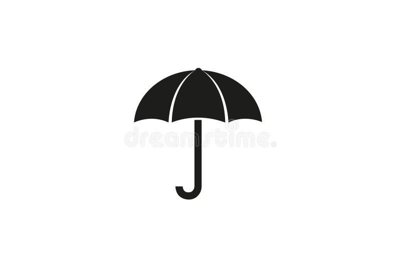 Idérikt svart paraply Logo Design Symbol Vector Illustration vektor illustrationer
