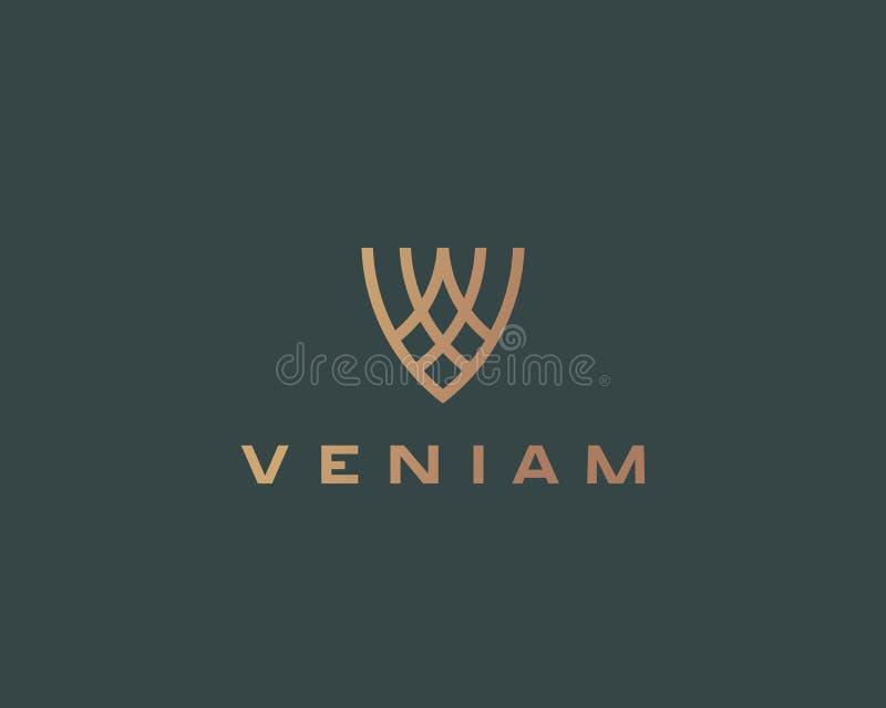 Idérikt symbol för logo för flygsköldvektor Logotyp för seger för lyxabstrakt begreppbokstav V högvärdig royaltyfri illustrationer