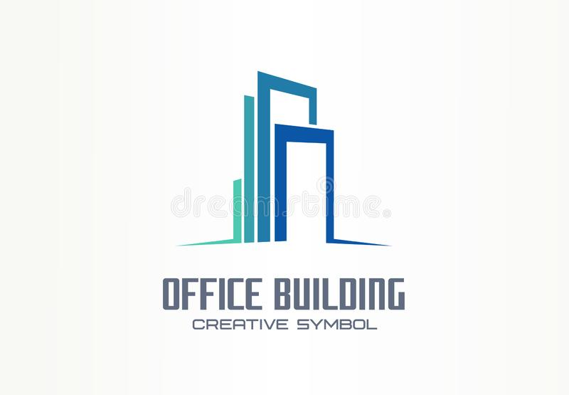 Idérikt symbolbegrepp för kontorsbyggnad E modernt vektor illustrationer