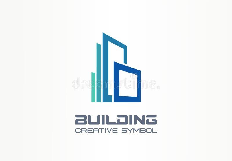 Idérikt symbolbegrepp för kontorsbyggnad Modern skyskrapa, 3d arkitekt, logo för affär för konstruktionskontur abstrakt royaltyfri illustrationer