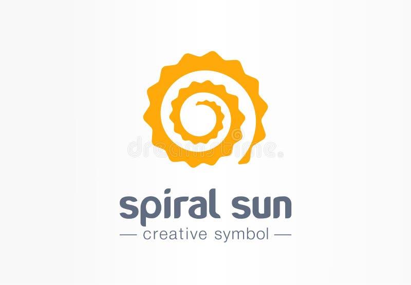Idérikt symbolbegrepp för spiral sol Logo för skönhet för solarium för affär för sommarmorgonljus abstrakt Varmt solskenväder stock illustrationer