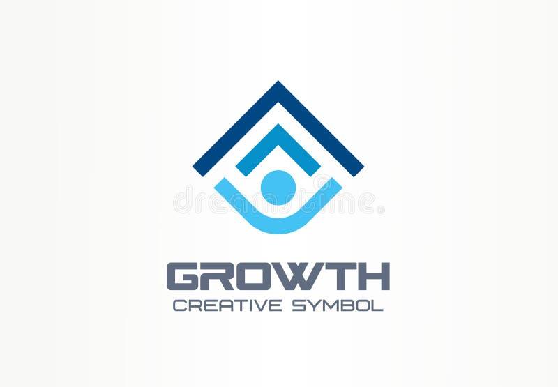 Idérikt symbolbegrepp för tillväxt Mänsklig yrkesmässig logo för framstegabstrakt begreppföretagsledare Personkarriärframgång som stock illustrationer