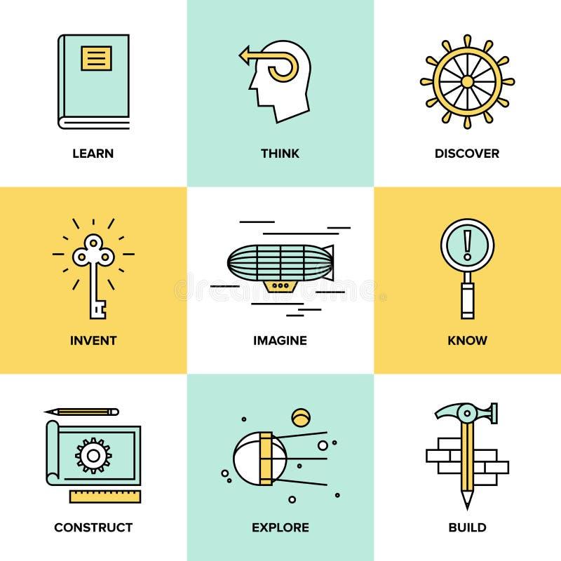 Idérikt tänka och plana symboler för uppfinning vektor illustrationer