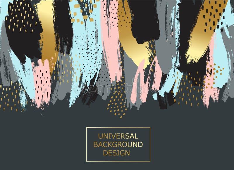 Idérikt universellt kort, bakgrund med hand drog texturer Vektorkonstram för text med guld och svart royaltyfri illustrationer