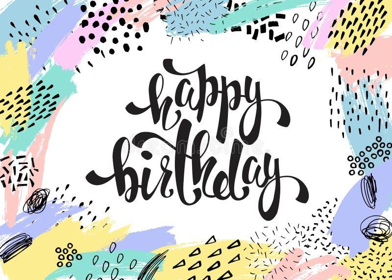 Idérikt universellt kort med hand drog texturer Lycklig födelsedagbokstäver stock illustrationer