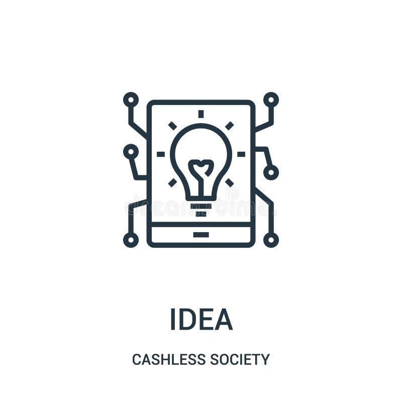 idésymbolsvektor från cashless samhällesamling Tunn linje illustration för vektor för idéöversiktssymbol royaltyfri illustrationer