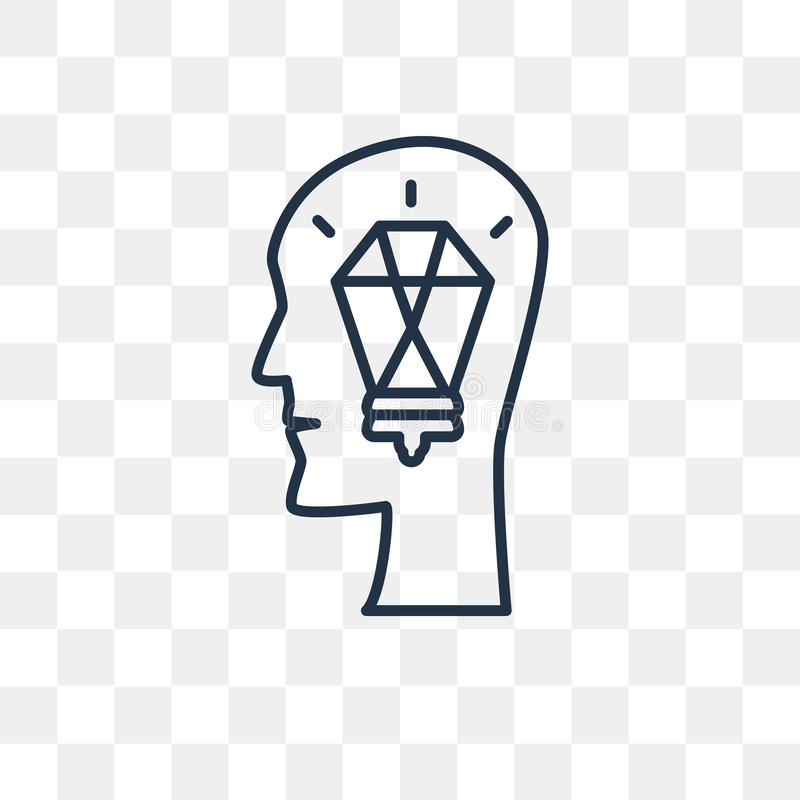 Idévektorsymbol som isoleras på genomskinlig bakgrund, linjär idé royaltyfri illustrationer