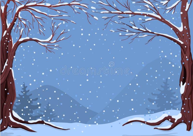 Idílio do inverno em flocos de neve de queda ilustração do vetor