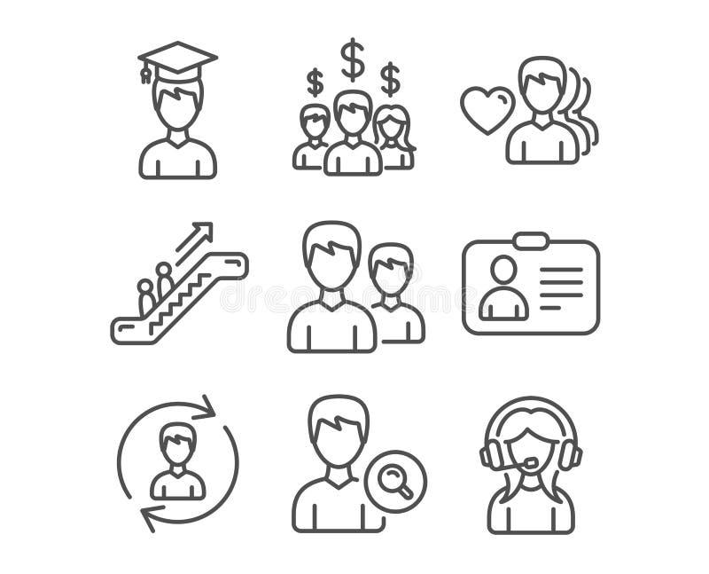 Id卡片、人力资源和查寻人象 薪金雇员,学生和自动扶梯标志 向量例证