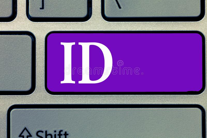 Id текста сочинительства слова Концепция дела для карточки или документа a которая служат определить демонстрируя документ, удост стоковое фото rf