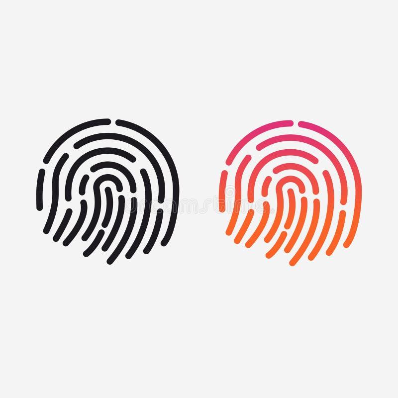 ID app icon. Vector set. Fingerprint for identification. Flat line illustration vector illustration