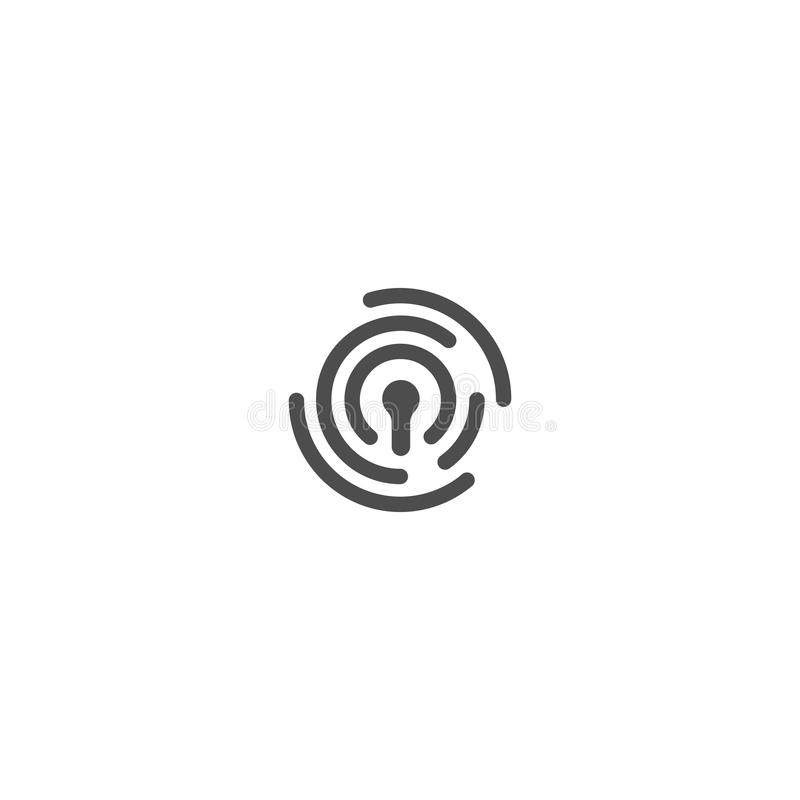 ID av personen, logo för thumbprintvektorabstrakt begrepp Säkerhetsteknologi, personlig rengöringsduksäkerhet av information ID royaltyfri illustrationer
