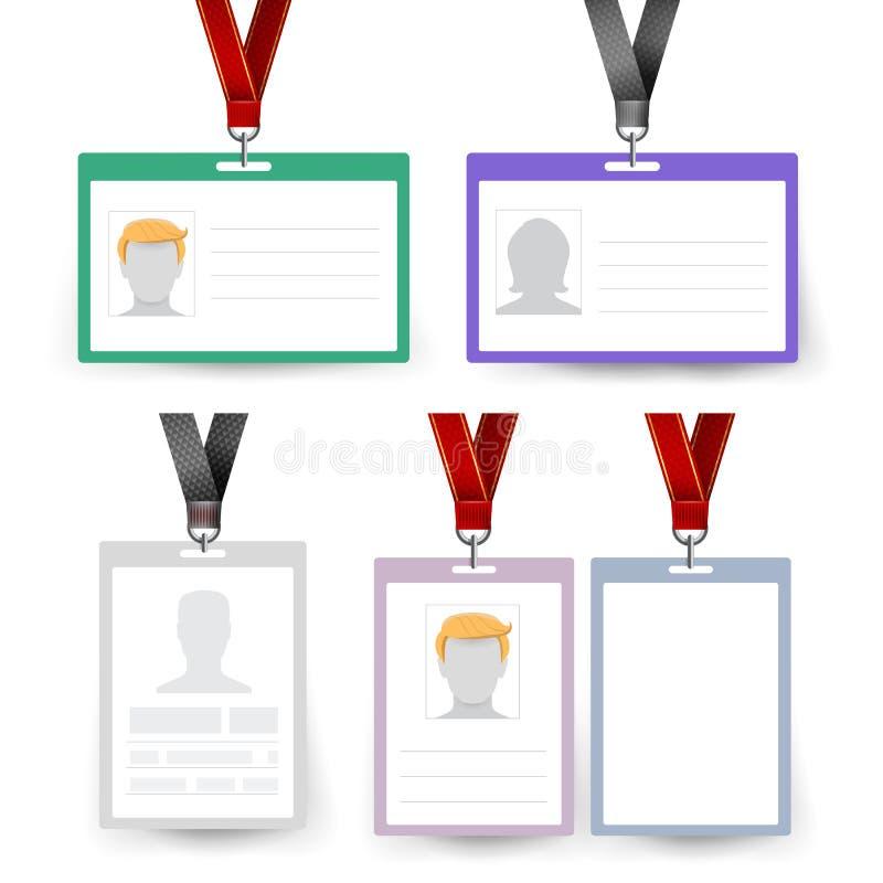 Id Badge Set Vector Name Tag Employee Card White Blank Plastic Id