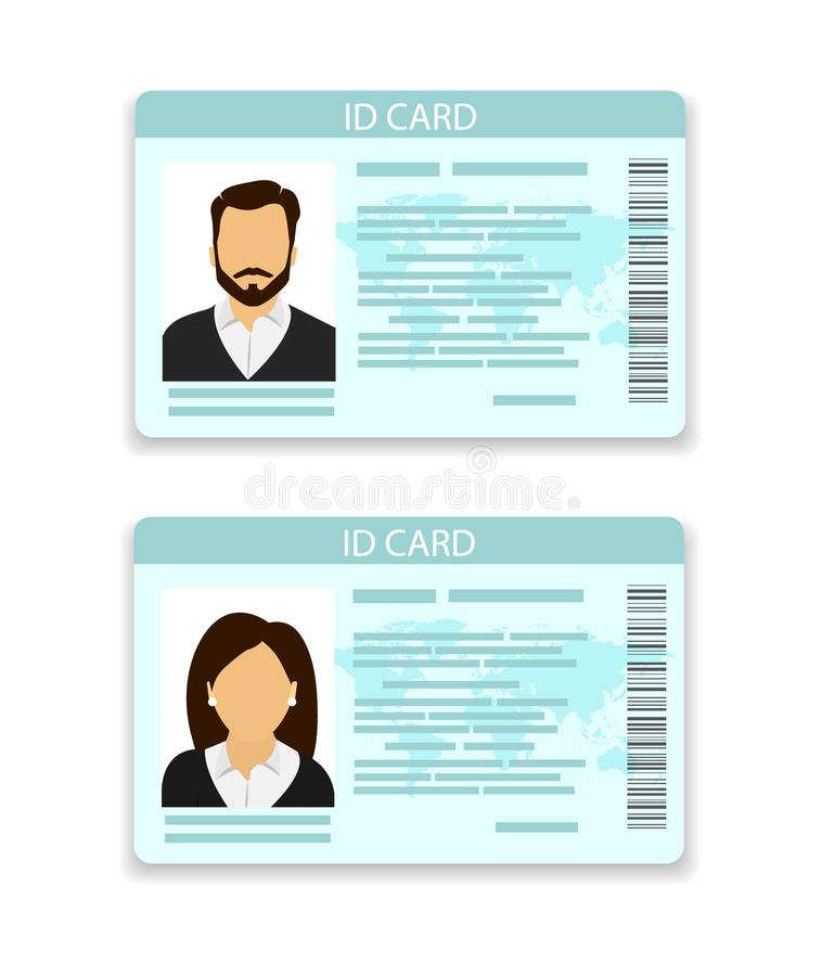 ID card. Card for men and for women stock illustration