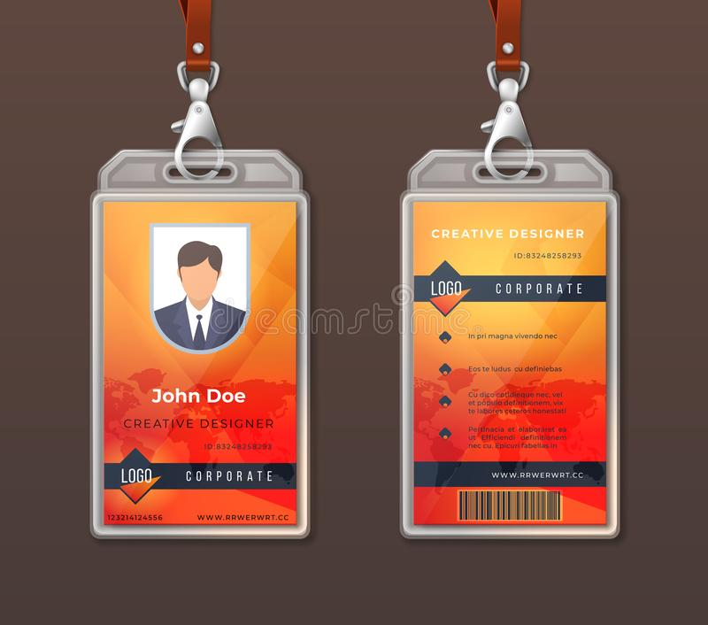 ID card corporate identity. Employee access badge design template, office identification tag layout. Vector company pass. ID card corporate identity. Employee vector illustration