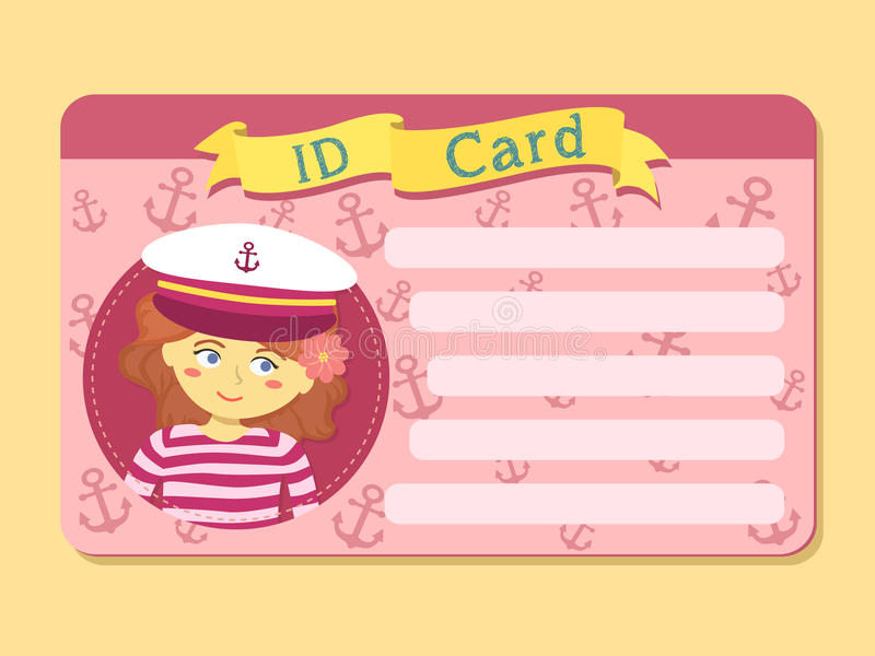 ID Card with Girl Wear Captain Hat Picture Vector royalty free illustration