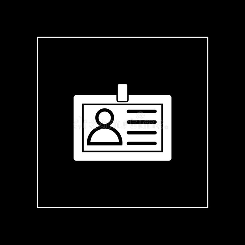 ID card icon flat illustration for graphic and web design isolated on black background vector illustration
