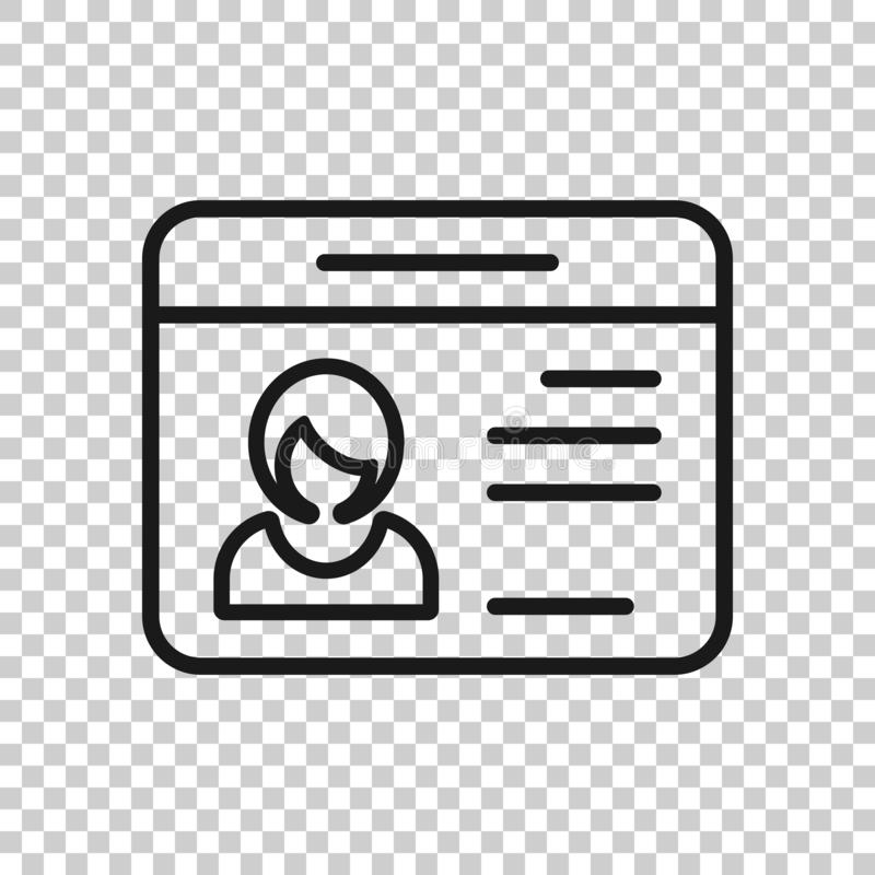 Id card icon in transparent style. Identity tag vector illustration on isolated background. Driver licence business concept.  stock illustration
