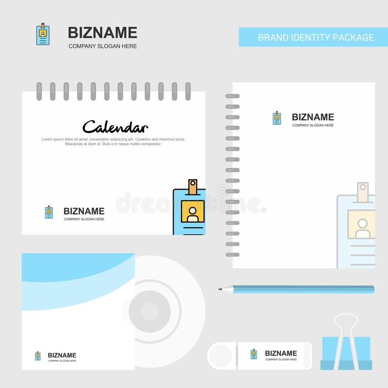 Id card Logo, Calendar Template, CD Cover, Diary and USB Brand Stationary Package Design Vector Template stock illustration