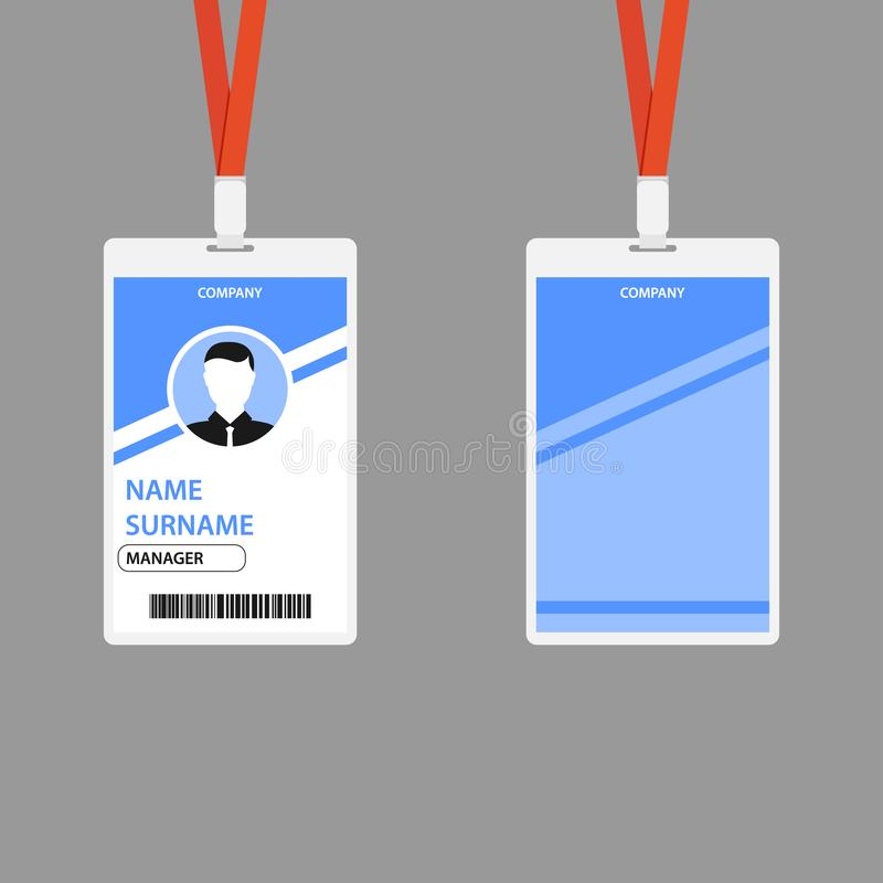 Creative ID Card Template With Abstract Blue Geometric