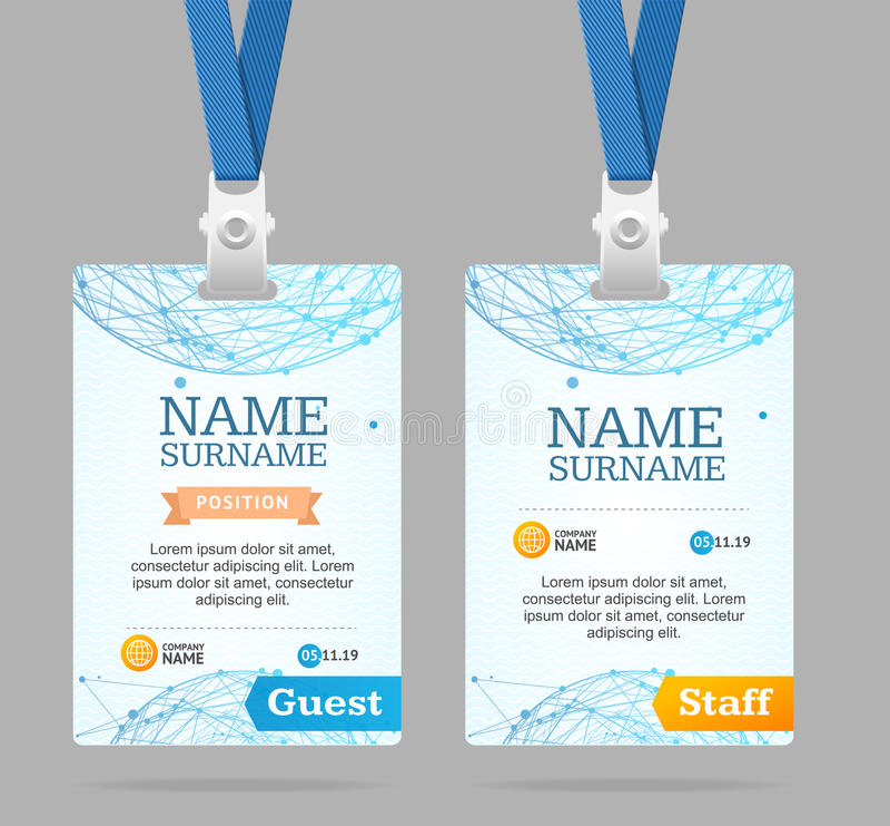 Id Card Template Plastic Badge. Vector. Id Card Template Plastic Badge with Abstract Mesh Sphere Structure. Vector illustration stock illustration