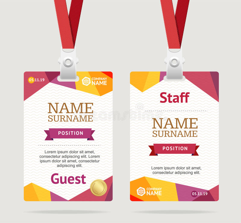 Id Card Template Plastic Badge. Vector vector illustration