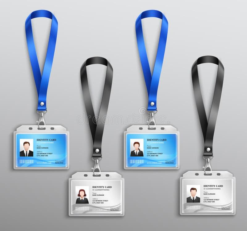 ID Cards den realistiska uppsättningen för emblem royaltyfri illustrationer